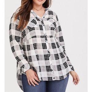Torrid Size 2 Black and White Plaid Babydoll Tunic